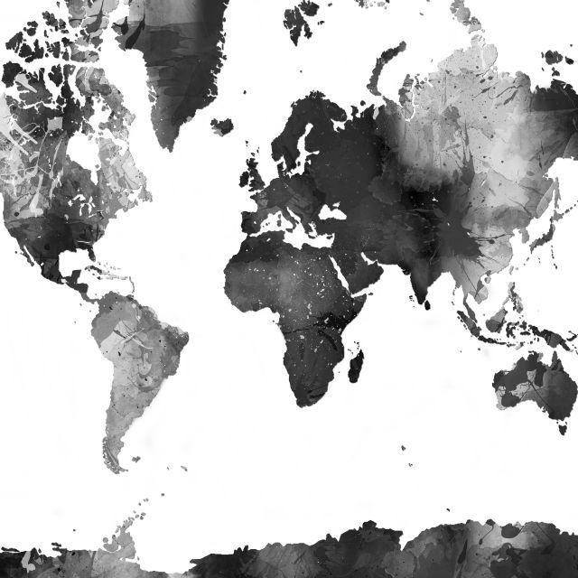 Poster - Mapa do mundo P&B