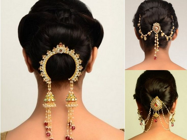 indian bridal hairstyles low bun with lovely hair accessories