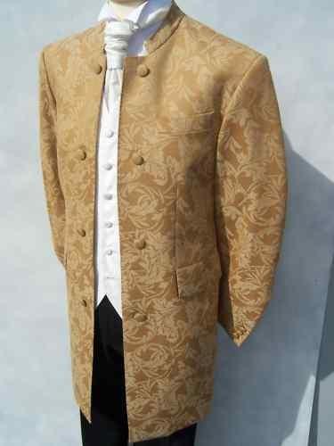 MENS GOLD BROCADE NEHRU WEDDING DRESS SUIT JACKET COAT