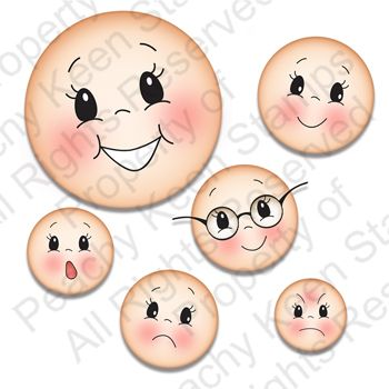 PK-531 Simple Sallies Face Assortment: Peachy Keen Stamps | Home of the original clear, peach-tinted, high-quality whimsical face stamps.