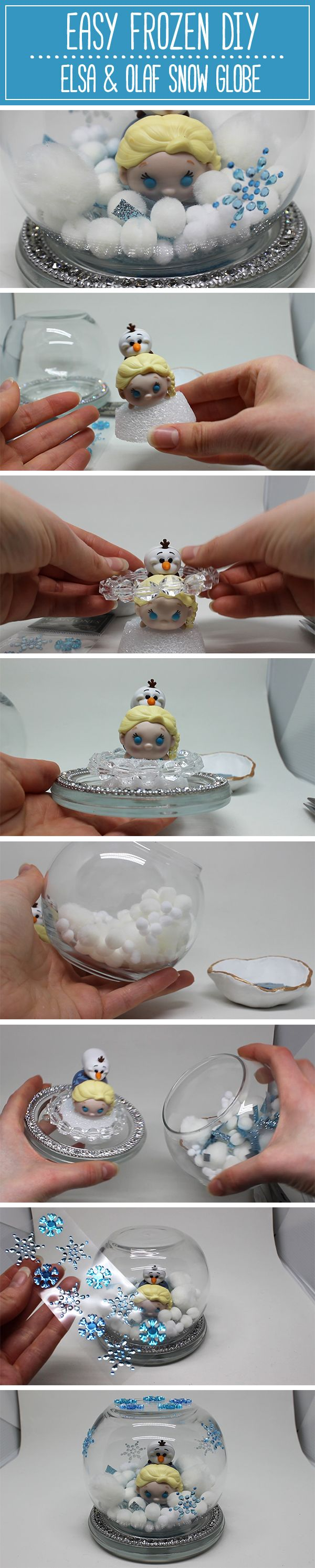 The easiest Disney Frozen DIY ever! A beautiful snow globe made with Elsa and Olaf Tsum Tsums. So cute and SO simple. | Made by HeyAlexHough. Follow her on youtube! <3 | #disneyDIY #FrozenDIY #DisneyFrozenDIY #TsumTsum #DisneyTsumTsum #TsumTsumDIY #DisneyCraft