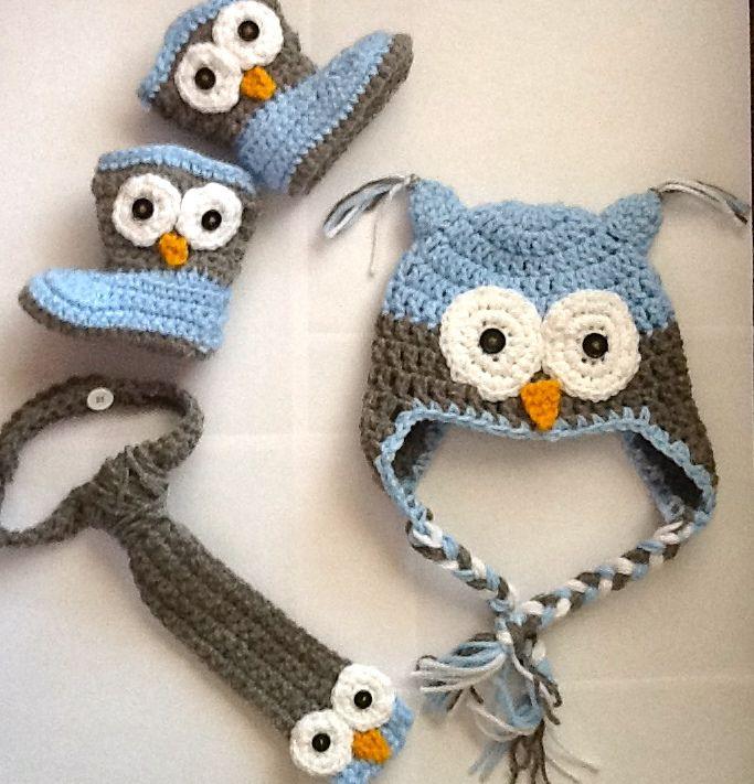 easy crochet owl hats for toddler boys | Baby Boy Owl Set (Owl hat, Owl Necktie, Owl Boots), basically, all ...