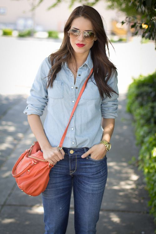 : Red Lipsticks, Denim On Denim, Lights Jeans, Pretty Denim, Denim Denim, Denim Shirts, Double Denim, D D D Denim, Denimond Am