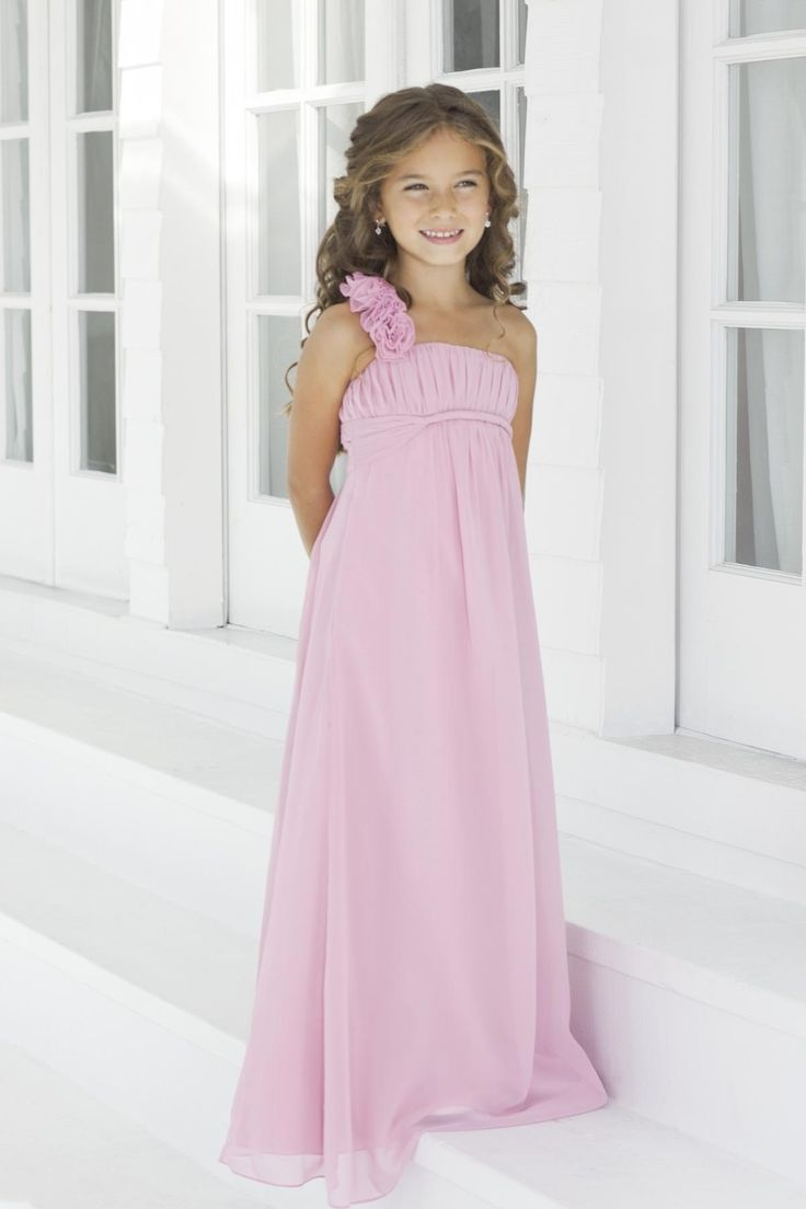 Empire Chiffon Flower One Shoulder Pink Little Girl Dresses.jpg (1200×1800)