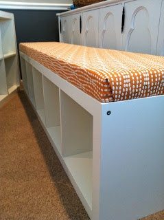 EXPEDIT ikea bench - organize toys in bedroom.