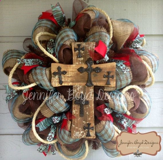 Western Rustic Red, Turquoise, And Burlap Cross Deco Mesh