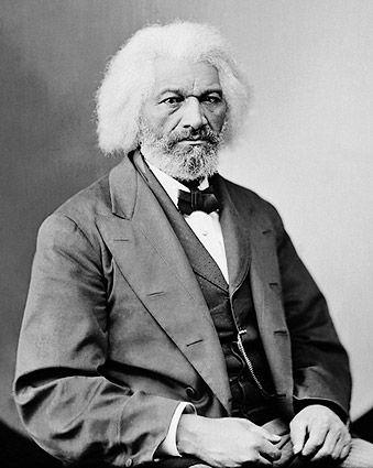 Portrait photo of abolitionist Frederick Douglass, taken by Mathew Brady.