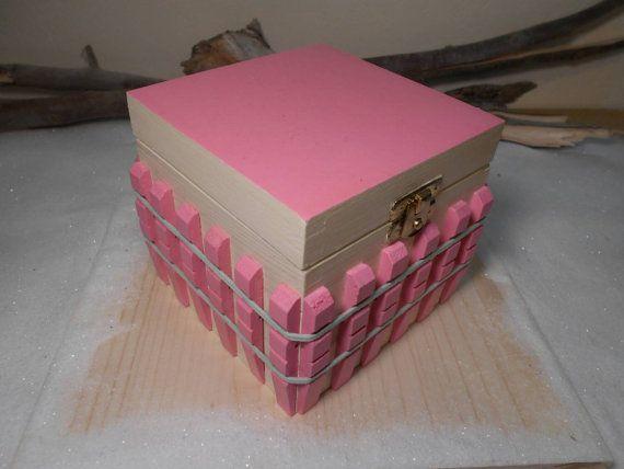 Handmade wooden box Pink box Girlfriend's gift by Zozelarium