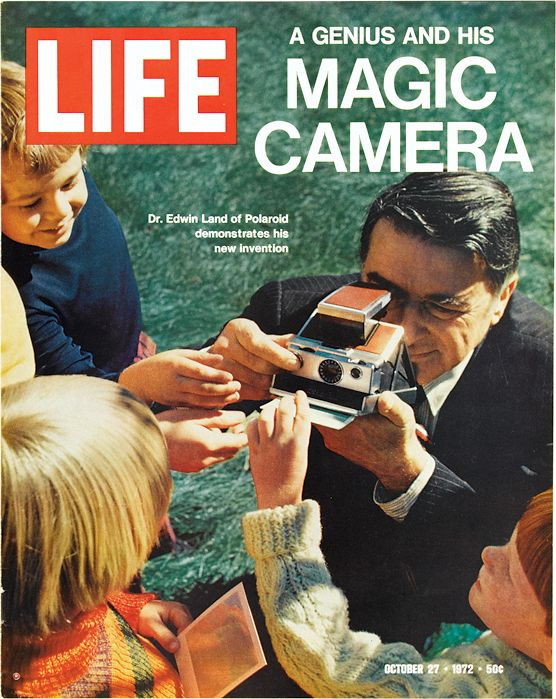 October 27, 1972: A Genius and his Camera...this category can include favorite photo stuff like this SX70 polaroid camera