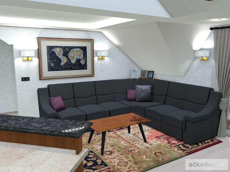 Rekonstrukce podkroví. Interiér v rustikálním stylu.   očkodesign