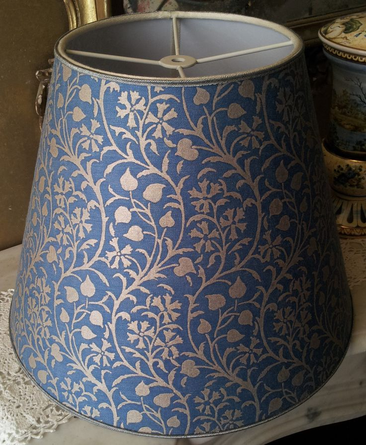 Empire Lamp Shade in Fortuny Fabric Granada Blue and Silvery Gold Round Lampshade