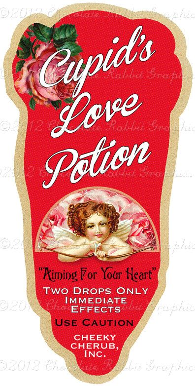 Valentine Vintage Love Potion Label Digital Download Printable