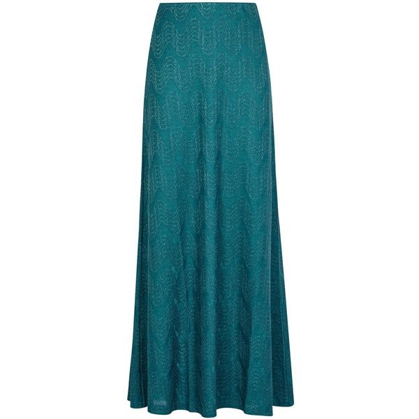 M Missoni Teal Metallic-knit Maxi Skirt - Size 10 (1,750 MYR) ❤ liked on Polyvore featuring skirts, long striped skirt, striped skirts, blue maxi skirt, striped maxi skirt and striped knit maxi skirt