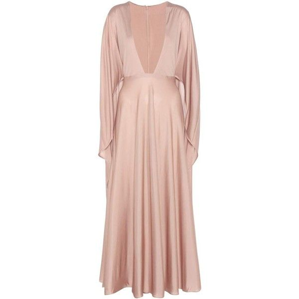 Valentino Silk Dress ($8,055) ❤ liked on Polyvore featuring dresses, cocktail/gowns, neutrals, cocktail dresses, silk dress, pink silk dress, holiday dresses and special occasion dresses