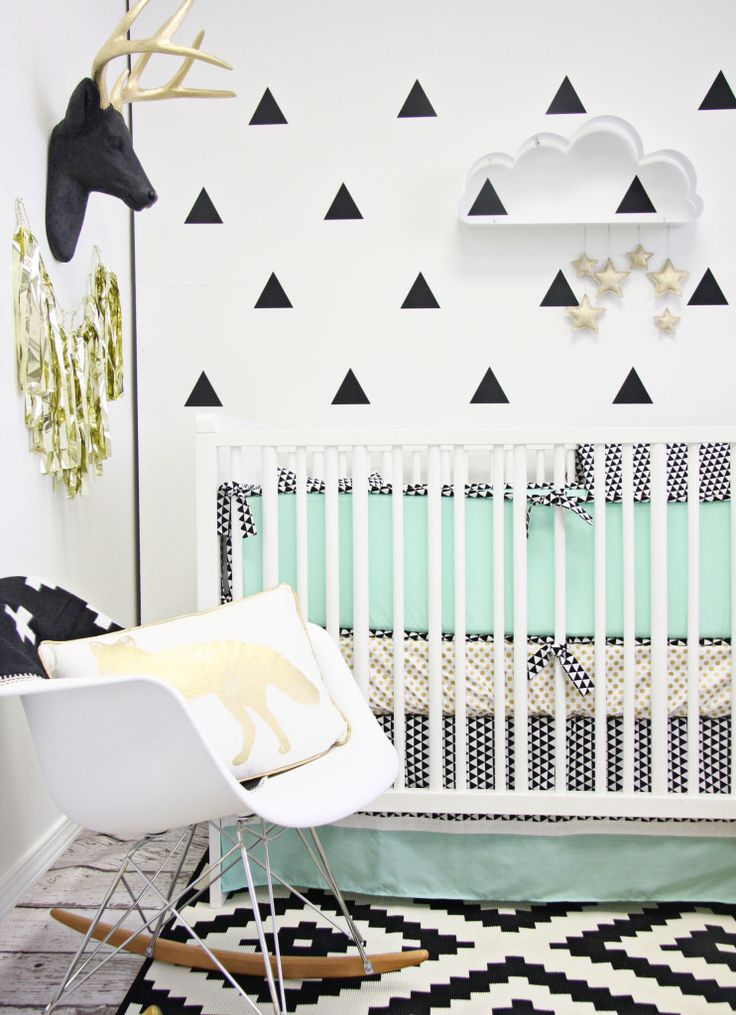 Modern Nursery with Triangle Wall Decals - Project Nursery