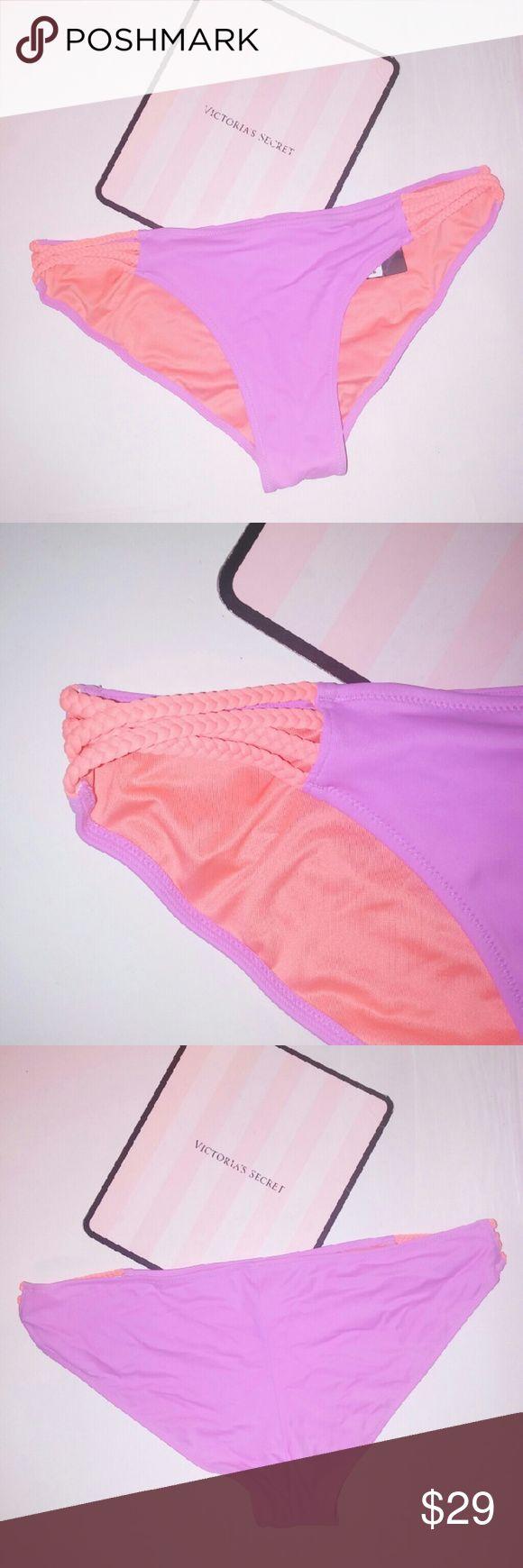 Victoria Secret Swim Suit Bikini Bottom Victoria Secret Swim Suit Bikini Bottom Large Purple orange Braided sides New with tags Victoria's Secret Swim Bikinis