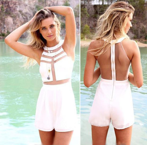 Syy Womens Jumpsuit Ladies Chiffon Sleeveless Halterneck Mini