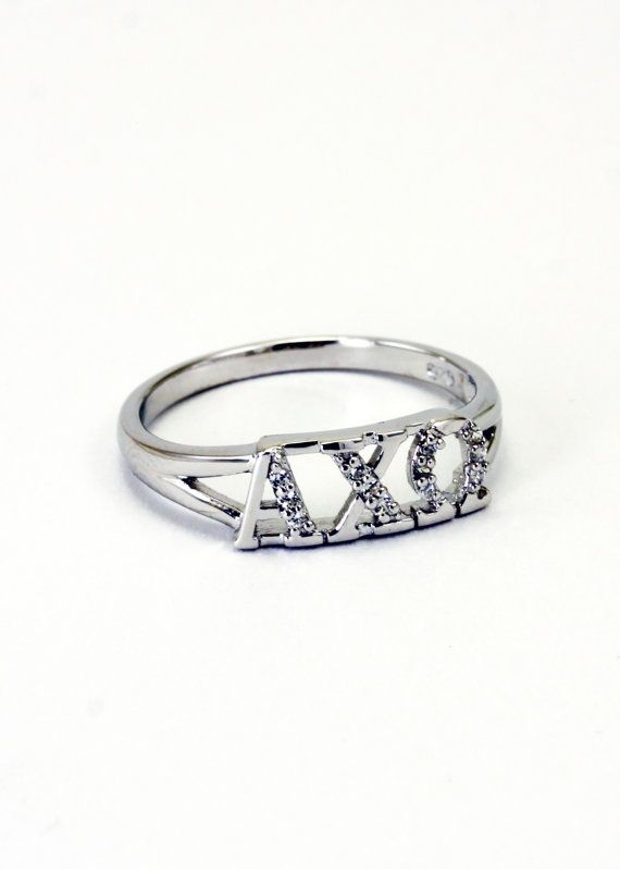 Alpha Chi Omega Sterling Silver Ring set with Lab-Created Diamonds on Etsy, $35.00
