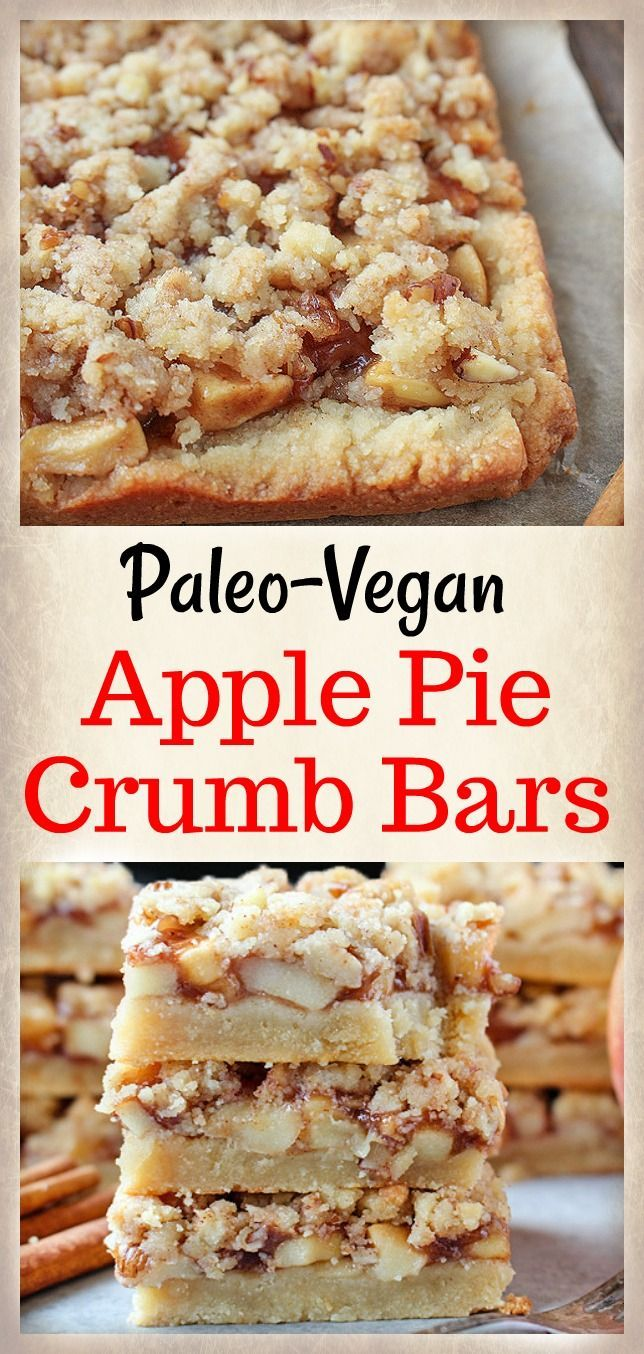These Paleo Apple Pie Crumb Bars are a delicious fall treat! Caramelized apples are layered on top of a sweet shortbread crust and then topped with an irresistible streusel topping. Gluten free, dairy free, and vegan! After I made these Paleo Raspberry Crumb Bars I knew I wanted to do an appl