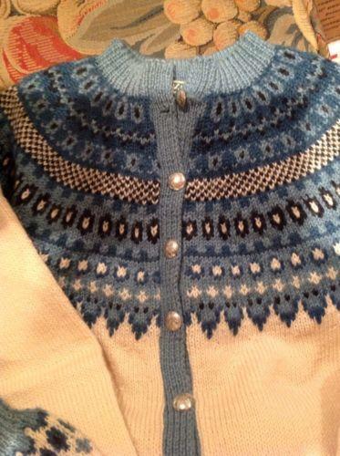 Norway Norwegian Dusty Blue Wool Knit Sweater by SUNDT BERGEN HANDSTRIKKET