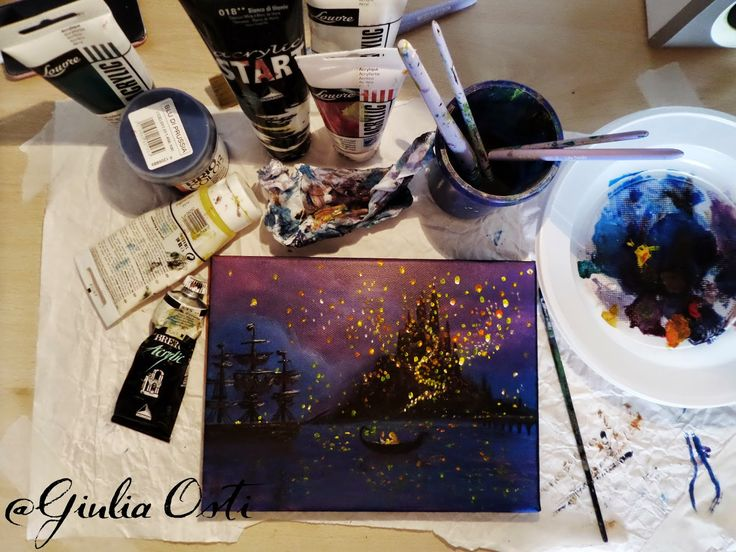 Drawn by me (Giulia Osti) Check out other creations on my blog! #illustration #Tangled #Rapunzel #Eugene #lights #disney #acryliccolor  ≈ Julia's World ≈: ≈ Tangled ≈