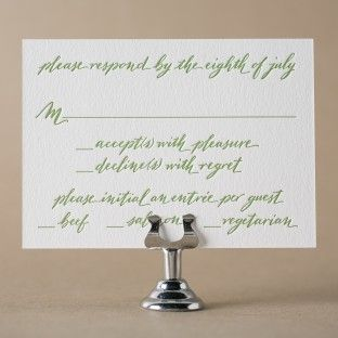 Mitty Calligraphy letterpress reply card with hand calligraphy by Nicole Black for Bella Figura