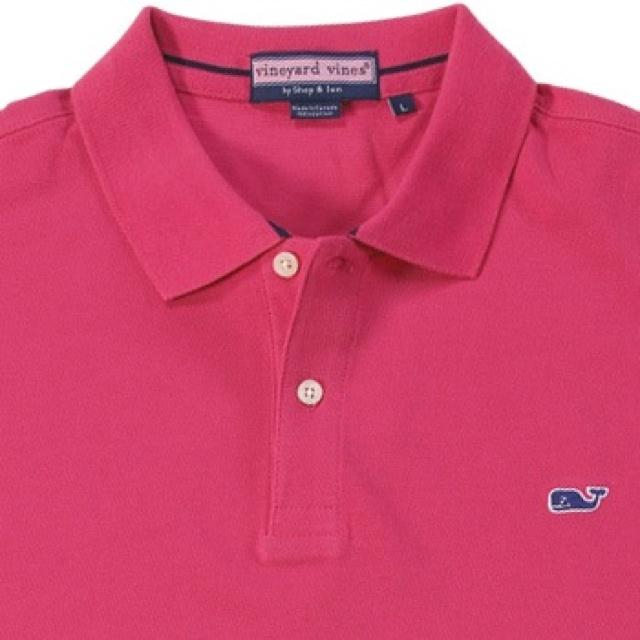 Vinyard vines pink collared shirt