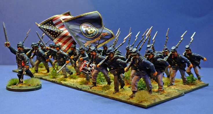 Just finished my version of the 20th Maine being led by Lt Col Joshua Chamberlain from the new 28mm plastic Perry Union Infantry packs.