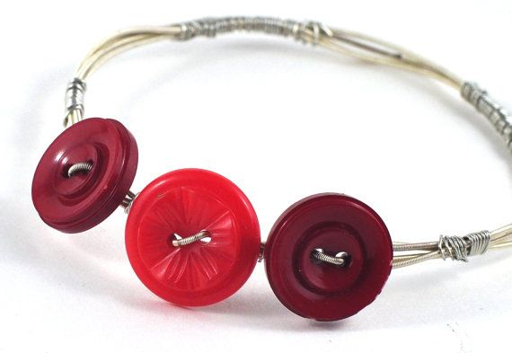 Guitar String Jewelry Bangle with Upcycled Red Burgandy