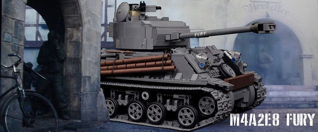 "Motorized LEGO M4A2E8 Sherman ""Easy Eight"" tank from Fury [Video]"