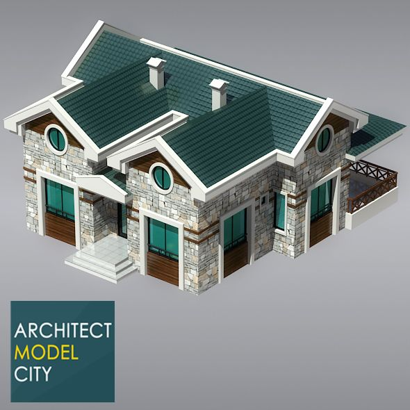 Architectural Home 3d Model OC-03  Editable 3D model of a