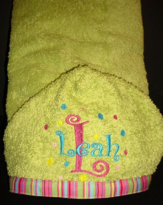 Monogrammed Hooded Bath Towels - made out of full size towels perfect for kids! $22.00