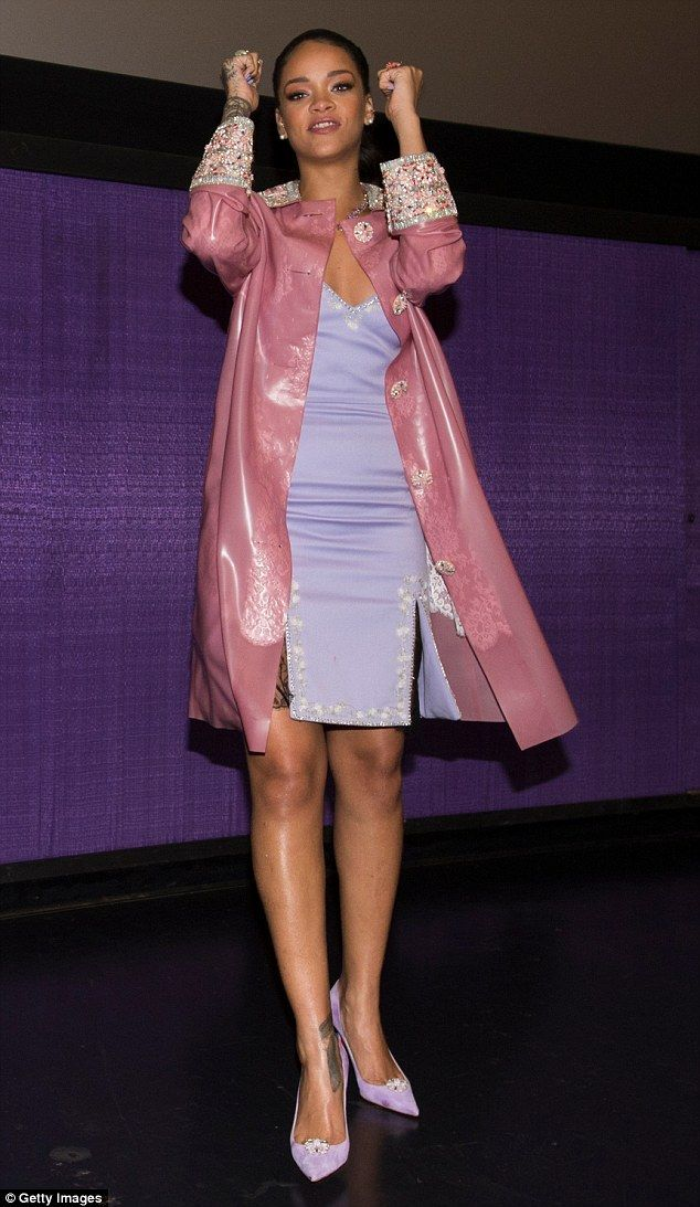 Worth celebrating:Rihanna donned the beaded PVC coat over a tight lilac dress which she t...