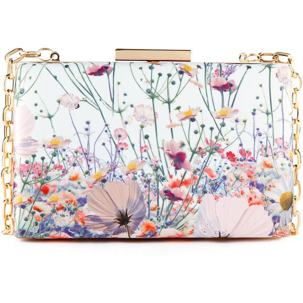 Floral Boxy Clutch M&S (170 PLN) ❤ liked on Polyvore featuring bags, handbags, clutches, purses, accessories, floral print purse, floral purse, floral print handbags, flower print purse and floral clutches