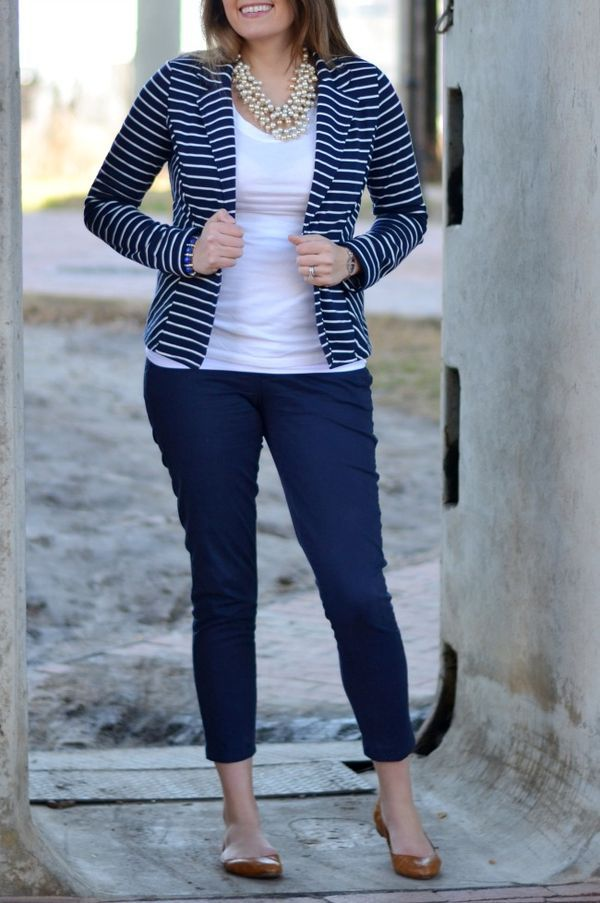 "Navy and white striped blazer from @Marshalls • The perfect ""work fashion"" outfit!"