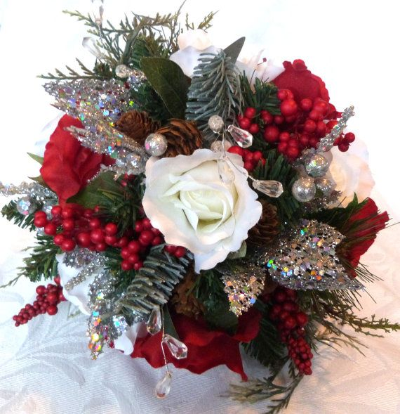 Red and white Winter wedding bouquet and by ChurchMouseCreations