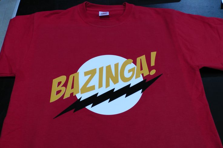 Textildruck mit FLock 3 färbig....BAZINGA-TShirt