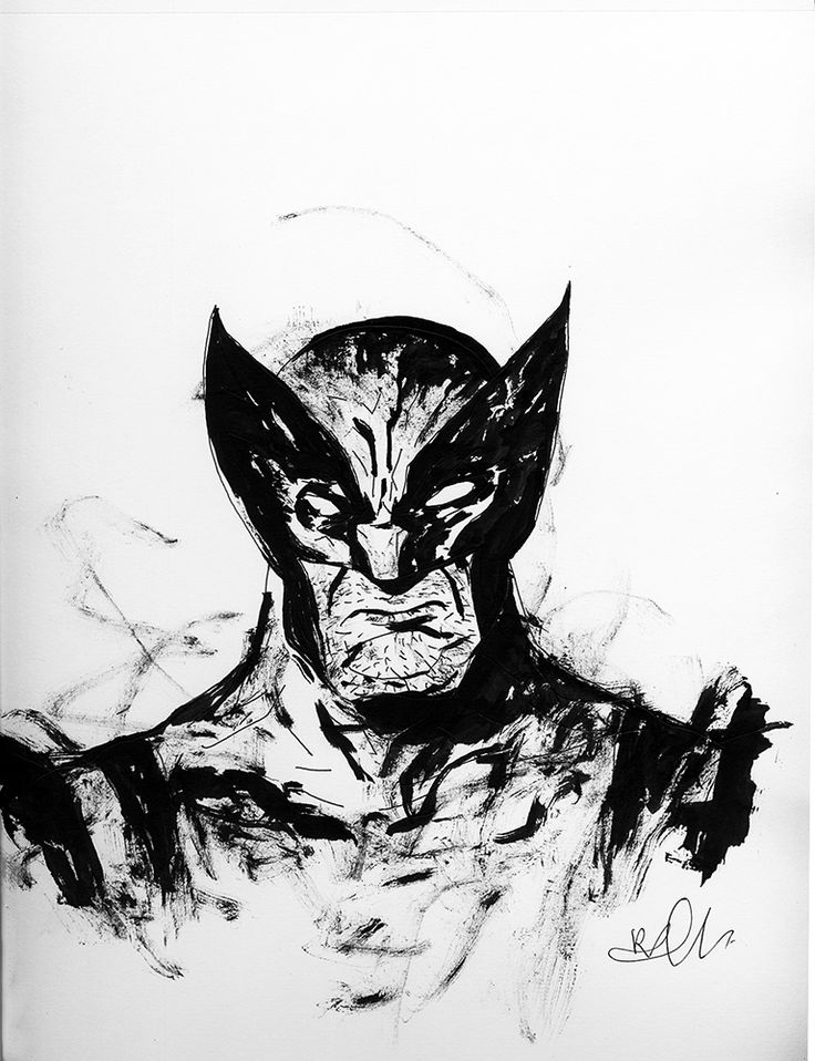 Wolverine Drawing by Richard Pellegrino- This drawing depicts Wolverine from the X-Men and the Marvel Comics universe in classic costume. Original one of a kind hand drawn ink on paper artwork by famous artist Richard Pellegrino.