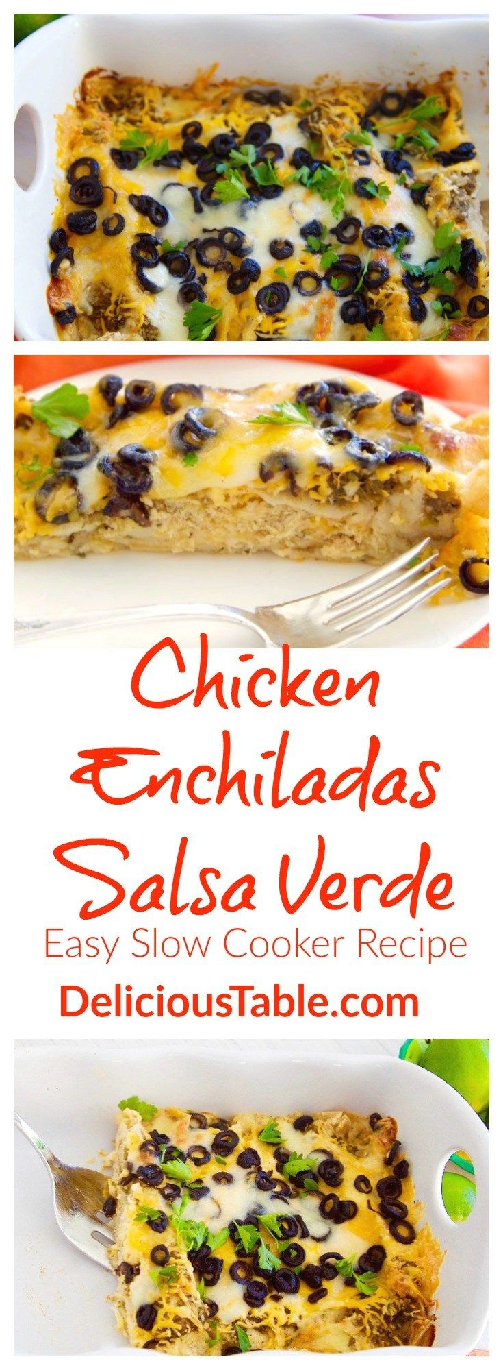 Easy Chicken Enchiladas Salsa Verde quickly assemble after the chicken filling is made in the slow cooker. Fire roasted salsa verde flavor in every bite!