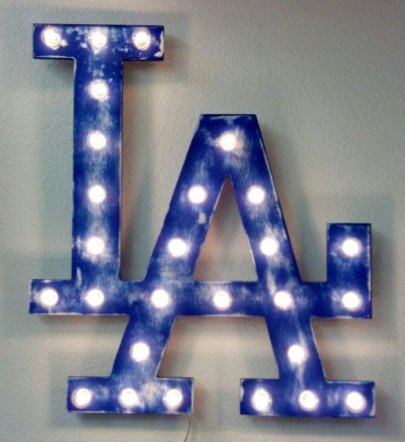 "24"" Large Team Logo Symbol Vintage Marquee Lighted Wood, Los Angeles"