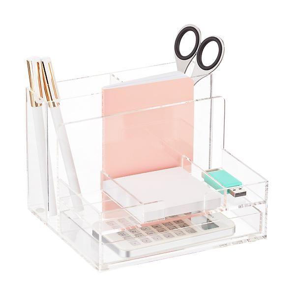Small Acrylic Desktop Organizer Desktop Organization Container Store Clear Desk
