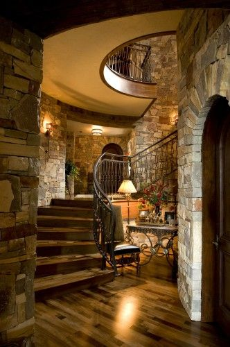 """Lovely, elegant staircase with a rustic charm... I was looking at dozens of beautiful and elegant staircases, and this is the one that made me say, """"oooohh""""."""