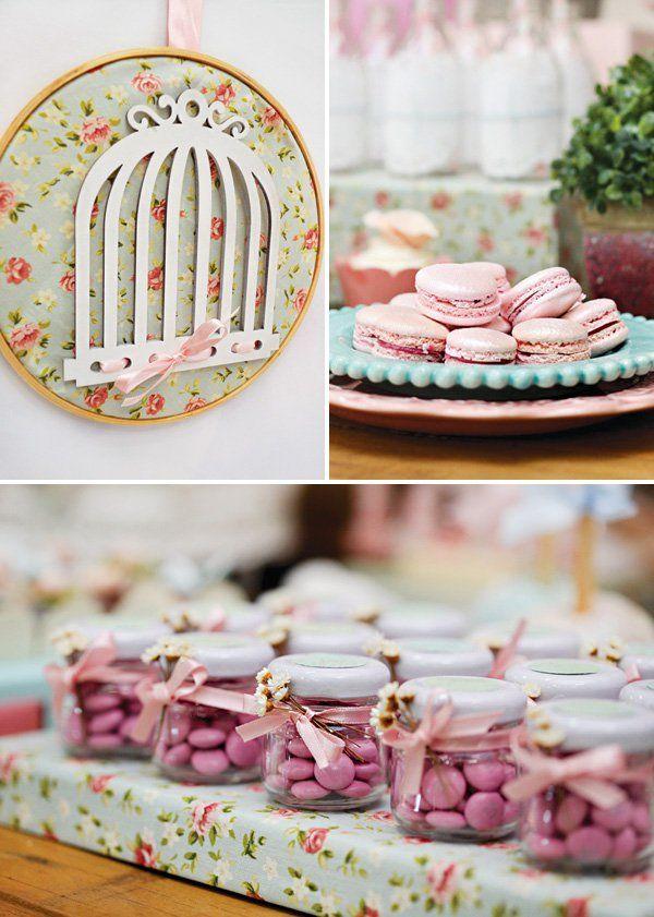birdcage wall decor, macarons, and M&M jars