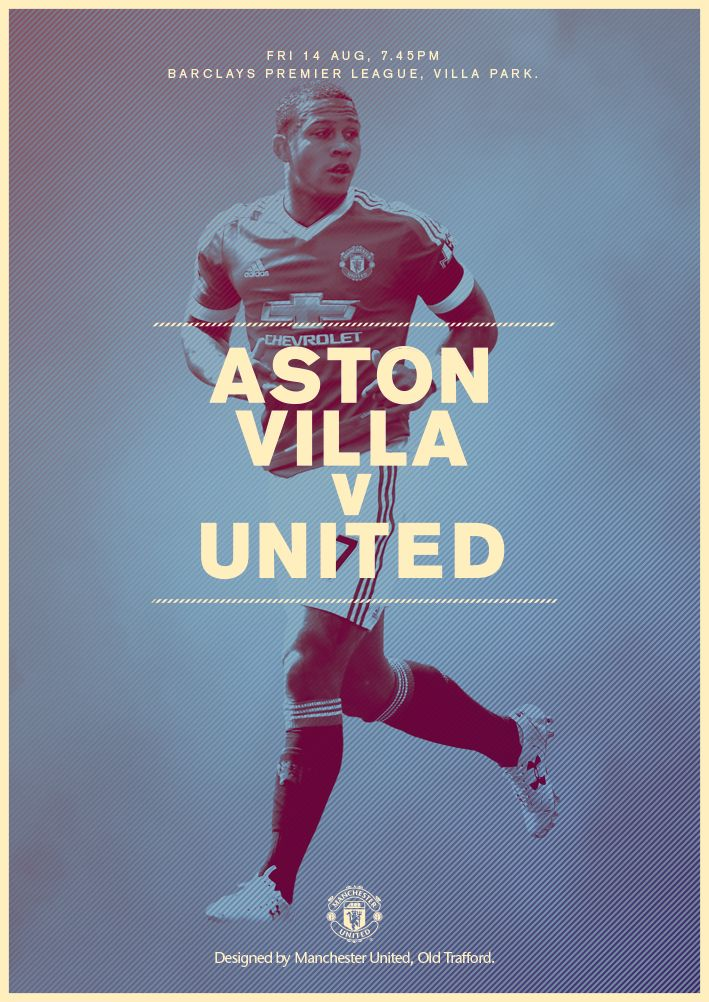 Match poster. Aston Villa vs Manchester United, 14 August 2015. Designed by @manutd