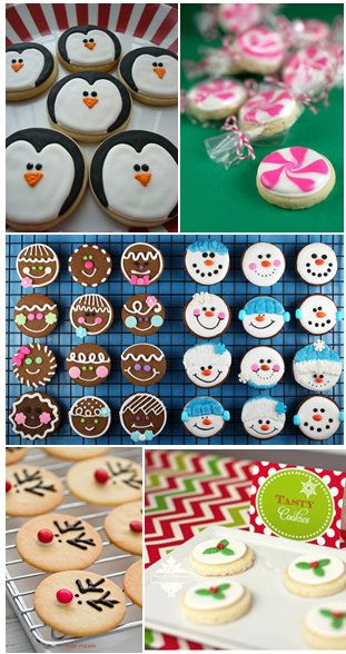 Make circle cookies and decorate in several ways...