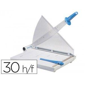 Guillotina metálica de palanca con guillotin de hoja, cortes rectos. Capacidad de corte de 30 hojas incluye protección de seguridad de plástico, base muy sólida. Longitud de corte: 460 mm. (DinA3)
