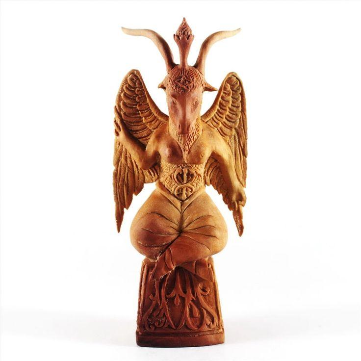 Baphomet Figurine Demon Wooden Carving Statue Bali Saba Wood Sculpture