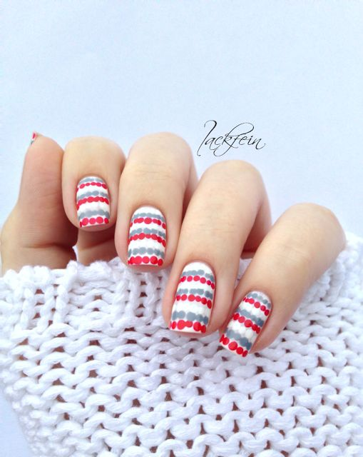 white, red, and gray dotted lines