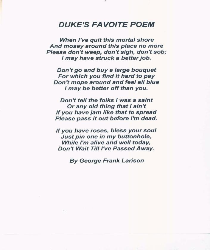 Duke's favorite poem