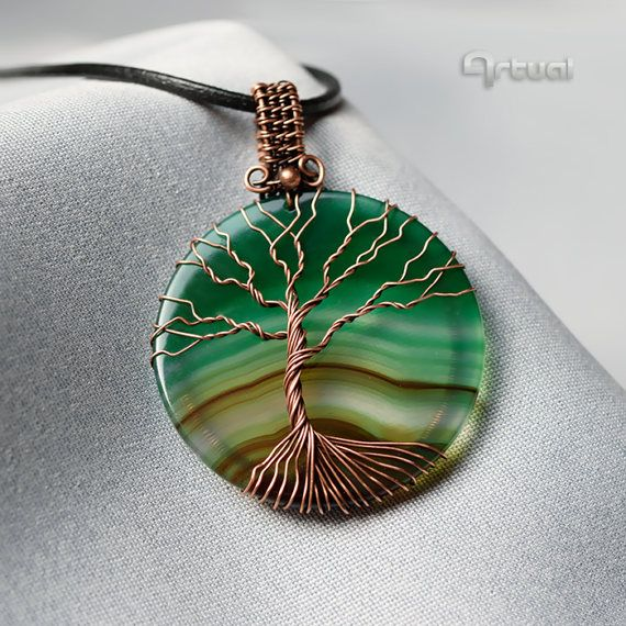 Tree of life pendant wire wrapped jewelry agate tree of by Artual - SOLD :)